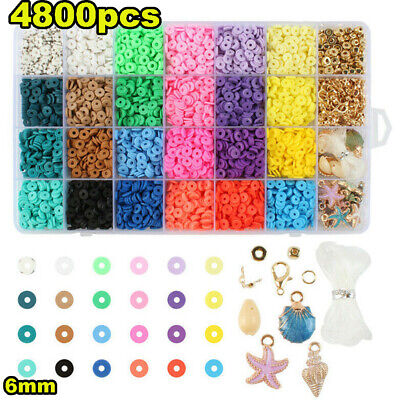 £11.99 • Buy 1Set Flat Polymer Clay Beads Spacer For DIY Bracelets Jewelry Making Finding