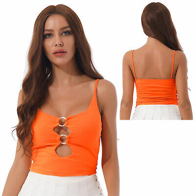£1.99 • Buy Women Crop Top Low-cut O Ring Keyhole Cami Vest Spaghetti Strap Sleeveless Top S