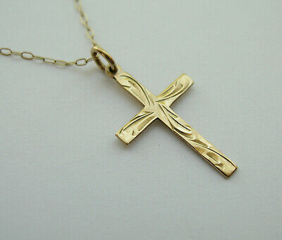 £32 • Buy Small Hallmarked Vintage 9ct Gold Cross Pendant On A Fine 16  Trace Chain - Vgc