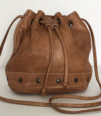 £8 • Buy RIVER ISLAND Small Real Leather Tan Distressed Drawstring Bucket Shoulder Bag