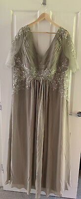 £50 • Buy Silver Evening Dress Floor Length UK 22 BNWT For Wedding Or Party