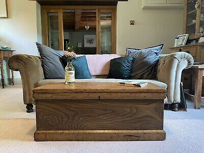 £100 • Buy Old PINE CHEST, ANTIQUE Wooden Blanket TRUNK, Coffee TABLE, Storage BOX & TRAY