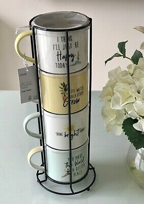£20 • Buy Next Set Of 4 Stacking Happy Slogan Mugs With Metal Stand - Brand New