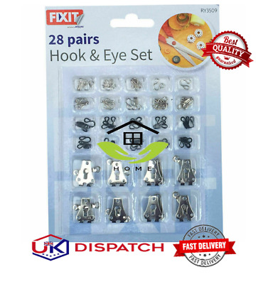 £2.99 • Buy 28pc Set Silver/Black Hook And Eye Fasteners For Fur Dress/Skirt Bra Sewing,Fix