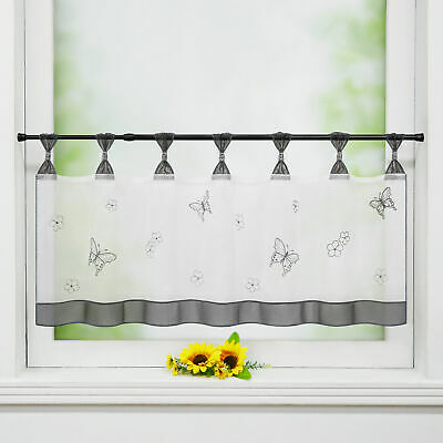 £10.49 • Buy Cafe Curtains Kitchen Embroidery Short Valance Window Sheer Net Curtain Voile
