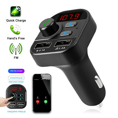 £5.99 • Buy Car FM Transmitter MP3 Player Bluetooth Radio Wireless Adapter Kit 2 USB Charger