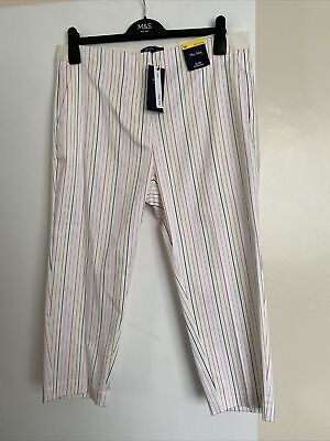 £11.99 • Buy M&S Ladies Slim Cropped Striped Trousers Size 16 (reg) THE MIA