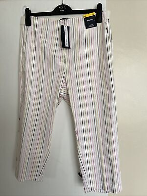 £11.99 • Buy M&S Ladies Slim Cropped Striped Trousers Size 16 (short) THE MIA