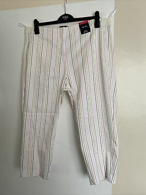 £11.99 • Buy M&S Ladies Slim Cropped Striped Trousers Size 18 (reg) THE MIA