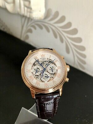 £16 • Buy Rotary Men's Skeleton Automatic Day Date Rose Gold Brown Strap Watch GS00244/01