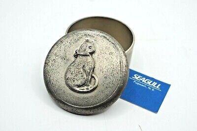 £5.99 • Buy 1990s SEAGULL Etain Zinn PEWTER Trinket Box Decorated With A CAT / Kitten Vtg