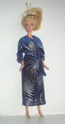 £5.99 • Buy Blue And Silver Velour Dressing Gown Robe Made To Fit Barbie Type Doll