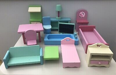 £6.99 • Buy Vintage Early Learning Centre (?) Dolls House Painted Wooden Furniture Bundle
