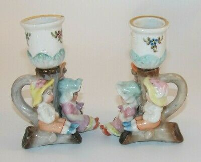 £19.99 • Buy  2 Antique German Fairings Children Around Candle Stick Candle Holder C1860 VG