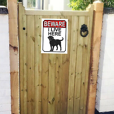 £5 • Buy Beware I Live Here Metal Gate Sign 150mm X 200mm 1505H1