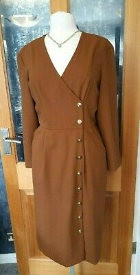 £9 • Buy Vintage St Michael M&S Ladies Tawny Brown Wrap Over Buttoned Dress, Fit Size 12