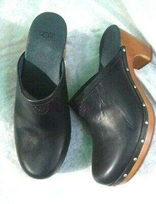 £59.99 • Buy Ladies UGG New Black Leather Clogs Mules Fit UK Size 5