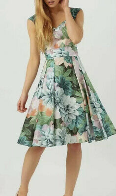 £15 • Buy PHASE EIGHT FLORAL 50s Style Fit  N FLARE SILKY DRESS Size 14 With Underskirt
