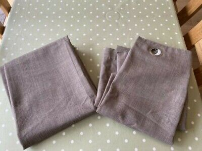 £12 • Buy Pair Of John Lewis Lined Mocha Eyelet Curtains In Excellent Condition 140cm Drop