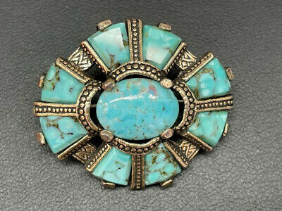£5.50 • Buy Vintage Designer Miracle Signed Turquoise Glass Set Scottish Brooch Jewellery