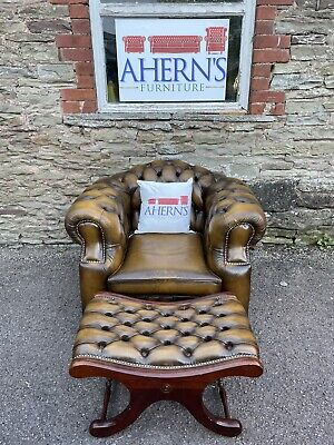 £500 • Buy *Golden Brown Leather Chesterfield Club Chair & Stool Made By Saxon*