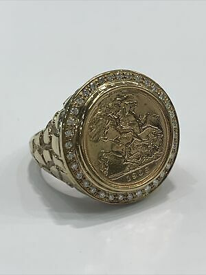 AU3000 • Buy 1908 22ct Half Sovereign Coin And 0.34ct Diamonds In 9ct 9k Mens Ring Mount. New