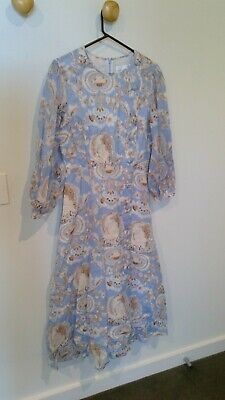AU95.76 • Buy Alice McCall Blue And Peach Midi Dress With Button Detail Size 10