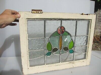 £50 • Buy Antique Stained Glass Window Panel Vintage Old Wooden Art Nouveau Flower 16x22