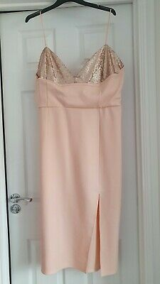 AU33.86 • Buy ASOS Blush Pink Strap Sequin Bodycon Dress In Size 20 Brand New