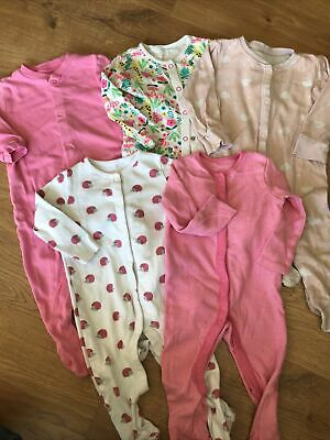 £1.99 • Buy Baby Girls Babygrows 9-12 Months Mix Of 5 Sleepsuits/ Rompers Pink Long Sleeved