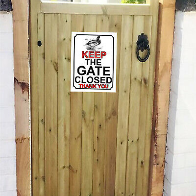 £5 • Buy Please Close The Gate Duck Themed Metal Gate Sign Plaque 150mm X 200mm 741H1