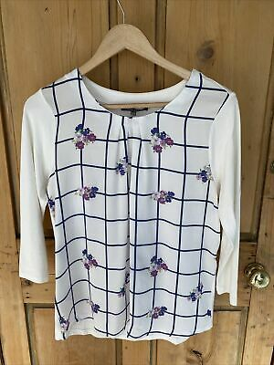 £4.99 • Buy Laura Ashley Pretty Ivory Top Blouse Pleated Neckline   Floral Size 12 Autumn