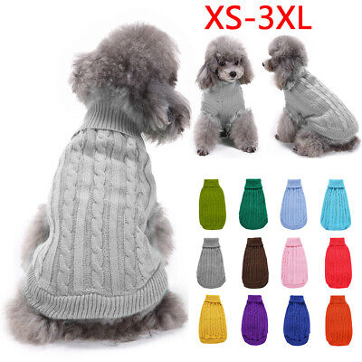 £7.99 • Buy Pet Dog Pullover Clothes Outfits Knitted Jumper Small Dogs Sweater Solid Coat UK