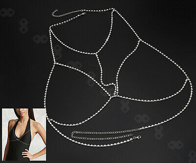 £5.22 • Buy Alloy Silver Harness Crossover Body Chain Chest Belly Bikini Slave Necklace