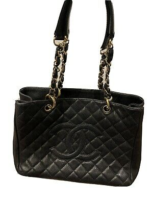 AU2800 • Buy Authentic Black/Gold CHANEL Grand Shopping Tote Caviar Leather  GST
