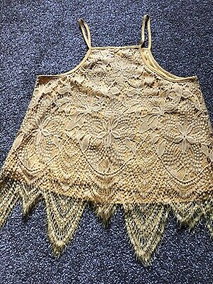 £2 • Buy Mustard Lacy Strappy Top Size Medium (Lined) Love Easy From TKMaxx