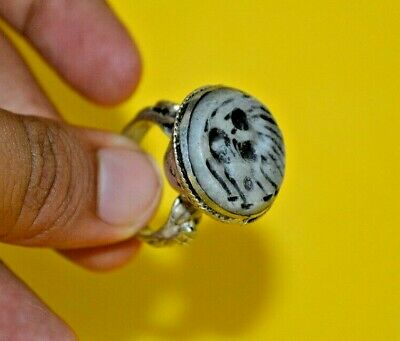£0.01 • Buy Near Eastern Ancient Roman Intaglio Seal Ram Monster Ring Stone Silver Color