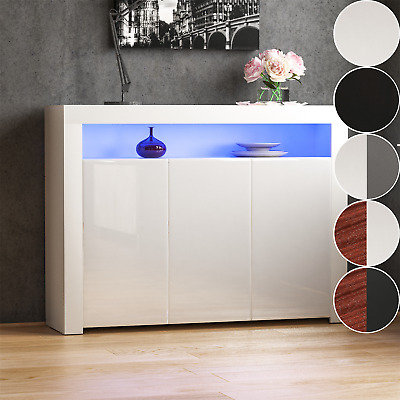 £89.94 • Buy LED Sideboard High Gloss Buffet Cupboard Display Cabinet TV Unit Stand 2 3 Doors
