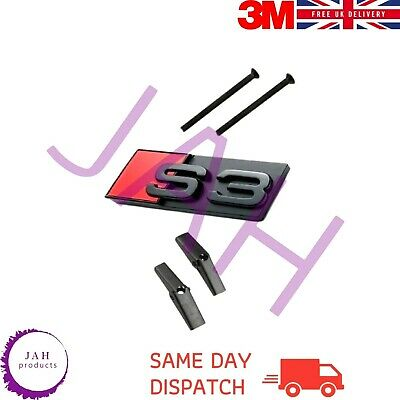 £17.99 • Buy S3 BADGE, FRONT GRILL LETTERING EMBLEM FOR AUDI, 65mm X 27mm, GLOSS BLACK