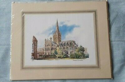 £3 • Buy Norwich Cathedral - Vintage Mounted  Print By Kenneth A Bromley