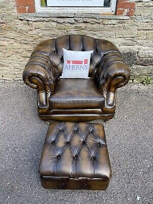 £600 • Buy Brown Leather Chesterfield Regency Chair And Stool FREE DELIVERY 🚚
