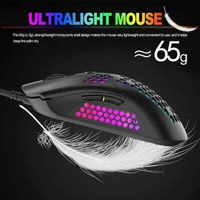 AU24.99 • Buy Gaming Mouse Wired USB RGB Backlit Honeycomb Shell Optical For PC Laptop PS4 MAC