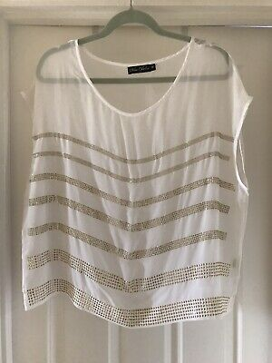 £0.99 • Buy White Cropped Top Blouse Sheer With Gold Metallic Sequins Studs Size M (14 / 16)