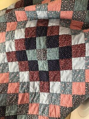 £24.99 • Buy Patchwork Quilt Blue Pink Double Bed Sofa Cotton