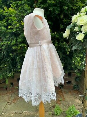 £38.88 • Buy Monsoon Lace Peach Bridesmaid Wedding Flower Girl Party Dress AGE 4 Immaculate