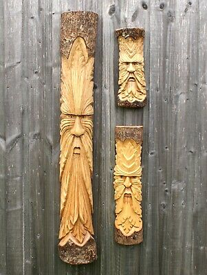 £44.50 • Buy Green Man Log Carving Wall Hanging Garden Hand Carved Wizard Plaque Wood