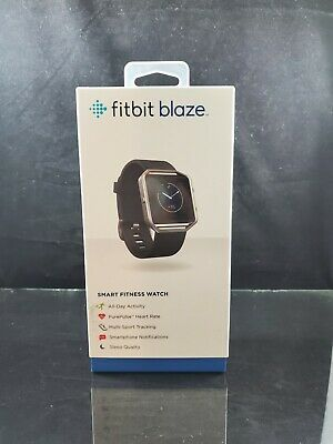 AU213.63 • Buy New In Box Fitbit Blaze Stainless Steel Frame Black Band Activity Tracker Large