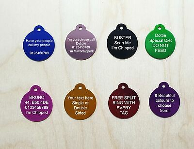 £2.89 • Buy ENGRAVED DOG TAG PERSONALISED ROUND ID NAME DISC PET CAT TAGS Engraving Charm