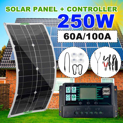 £57.88 • Buy DC 2 In 1 Line 250W Solar Panel Kit 60A/100A Controller With Dual USB Port
