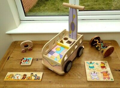 £40 • Buy Wooden Toy Bundle Age 6-12 Months + Baby Walker, Rolling Cylinder, Puzzles Etc